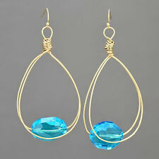 Matte Gold Wire Dropped Clear Aqua Stone Fish Hook Style Earrings