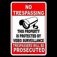 Property Protected By Video Surveillance Warning Security Camera Sign Metal S024