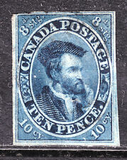 1855 PENCE ISSUE IMPERF on THIN PAPER #7 10d BLUE, VF, LIGHT CANCEL