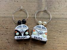 wine charms glass Camper Van Wedding Bride Groom Party Dinner Table Bus Favours