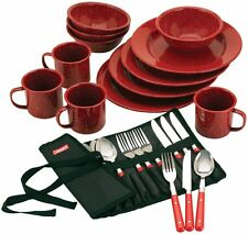 Dinnerware Set 24-Piece Coleman Enamel Outdoor BBQ Camping Durable Red