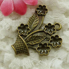 Free Ship 22 pieces bronze plated flower basket pendant 31x28mm #1643