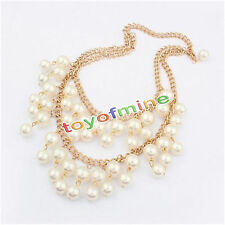 Fashion Charm Jewelry  Choker Chunky PEARL Statement Bib Pendant Necklace Chain