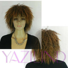 Punk Rock Micro Perm Curly Short Medium Spiky Brown Synthetic Hair Full Wig