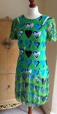 Authentique Versace pour H&M vert frange blue hearts dress FR38 UK10 nwt superbe!