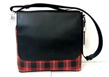 Coach Charles Messenger Printed PVC , F55490 LBA. Black/Red Plaid Black.