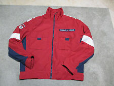VINTAGE Tommy Hilfiger Jeans Sailing Jacket Adult Large Red Windbreaker Flag 90s