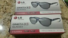 LG AG-F310 Cinema 3D Glasses - 2 pairs New In Box Lg 3d Glasses With Cover