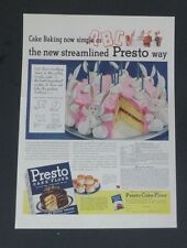 Original 1941 Print Ad PRESTO CAKE FLOUR Self-Rising Bunny Birthday Cake Recipe