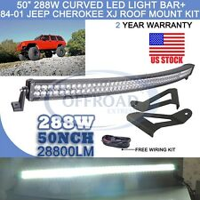 "84-01 Jeep Cherokee XJ 50"" 288W Cree Curved LED Light Bar +Mounting Roof Bracket"