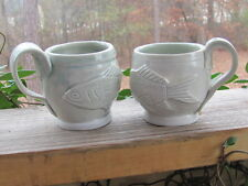 Hand Spun~Pottery~Fish and Fern~Coffee Mugs~Unknown Artist~Pair