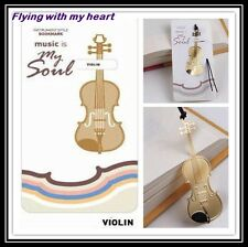 Gold-plated Violin Instrument Stainless Metal Music Art Bookmark - Perfect Gift