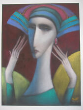 Sammy Pasto Original Pastel Painting Art Deco Lady Cubism Modern Female Portrait