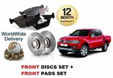 FOR MITSUBISHI L200 ANIMAL DiD 2.5DT 2006-- ON FRONT BRAKE DISCS SET & PADS KIT