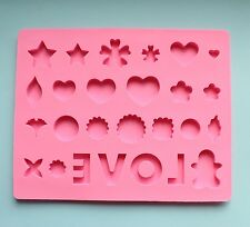 """LOVE"" Mold Hearts, Circles, Flowers - Resin, Food Safe, Flexible Silicone"