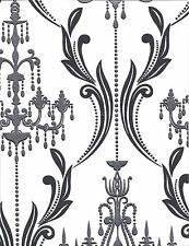 Formal Black Damask with Silver Glitter Chandelier on White Wallpaper AB2170