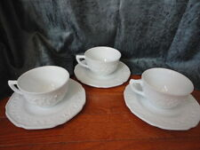 Milk Glass Floral Band Cup & Saucer Indiana Glass Company Set (3) Vintage
