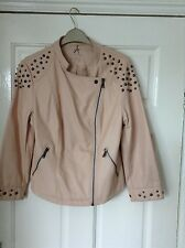 Ladies new Atmosphere pale pink PU studded jacket size 12