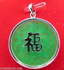 New Good 925 Sterling Silver Green Jade 福 Fu Round Pendant