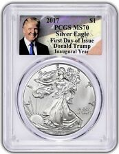 2017 Silver Eagle Pcgs Ms70 Donald Trump First Day Of Issue Fdoi Inaugural Year