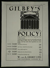 Gilbey's Pantheon Invalid Castle 84 Old J Port With Prices 1929 Ad Advertisement