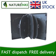 5 x 8 way 25mm Spine Black storage Flip cases for CD / DVD / Blu ray disc - NEW