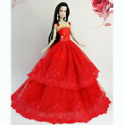 Red Fashion Wedding Gown Dresses Clothes Party For Princess Barbie Doll