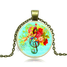 Vintage musical note Cabochon Photo Bronze Glass Chain Pendant Necklace BAC087