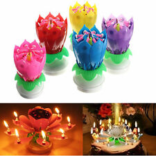 Charming Musical  Lotus Flower Rotating Happy Birthday Party Lights Candle 1 pcs