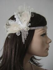 Cream White Peacock Feather Flapper Crystal Headband Fascinator Headpiece Gatsby