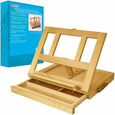 Adjustable Table Top Wood Easel For Painting Storage Drawer Stand Art Kids Desk