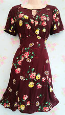 Vintage 40s Style Maroon Floral Tea Dress Land Girl Home Fires Size 10