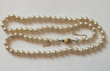 Antique Cultured Pearl Necklace 18ct Gold Clasp 18 inch LONG