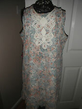 DOROTHY PERKINS Size 14 Ladies Cream Floral Print Lined Sleeveless Summer Dress