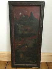 Antique Old Qing Dynasty Chinese Red Lacquered Panel With Figures In Mountains