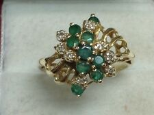 Estate Emerald & Diamond Ring Solid 14K Yellow Gold Size 8 1/2