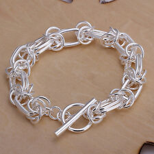 Cool 925Sterling Silver Large Dragon Men Women T-O Clasp Chain Bracelet GH025