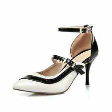 Ladies Womens Ankle Strap High Heel Pointed Toe Pumps Shoes UK Size 1--12 C166