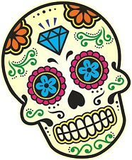 Colour Mexican Day Of The Dead Sugar Skull & Diamond Motif Car Sticker Decal  (C