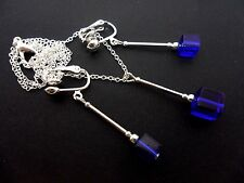 A SILVER PLATED BLUE CUBE CRYSTAL  NECKLACE AND CLIP ON EARRING SET. NEW.