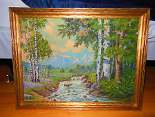 VINTAGE ESTATE OIL PAINTING LANDSCAPE TREES, MOUNTAINS, WATERFALLS NICE signed