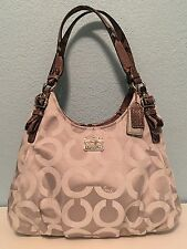 Coach Madison Gray Op Art Python Maggie Shoulder Bag 17689
