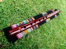 PROFESSIONAL NATIVE AMERICAN STYLE FLUTE MAHOGANY WOOD & BAG (G) Retail $250-NEW
