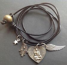 Bijoux real leather wrap bracelet with buddha heart hamsa hand and wing charms