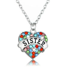 Women Girls Heart Crystal Sis Sister Rhinestone Pendant Necklace Family Jewelry