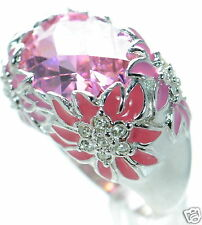 David Sigal Solid 925 Sterling Silver Enamel Floral Pink Crystal Ring Sz-9 '