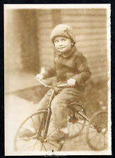 1915 BIG WHEEL Large Trike TRICYCLE Cute Expression Boy Face ORIGINAL PHOTOGRAPH