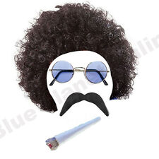 MENS HIPPIE HIPPY AFRO WIG TASH SUNGLASSES & SPLIFF 1960S 1970S FANCY DRESS