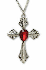 Cross with Red Stone Medieval Renaissance Pendant Necklace NK-570