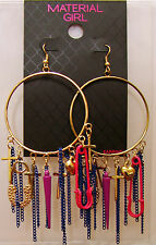 Material Girl Earrings, Gold-Tone Colorful Charm Hoop Earrings